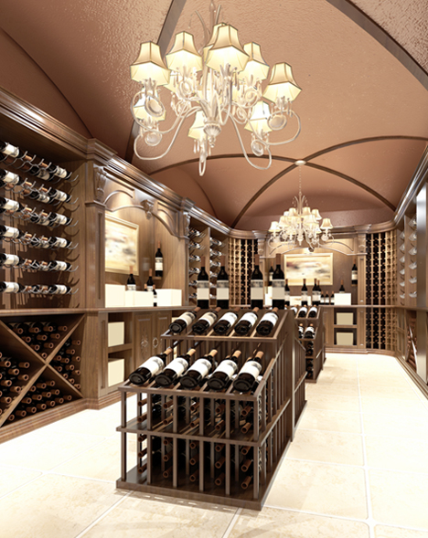 Wine cellar that is being temperature monitored