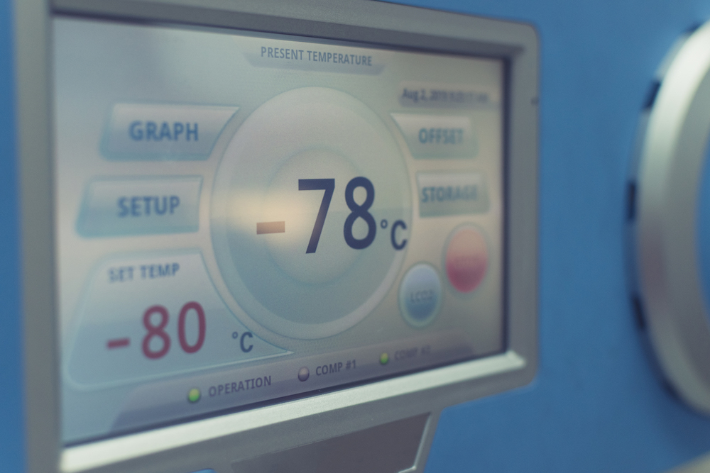 freezer temperature being displayed on a monitor