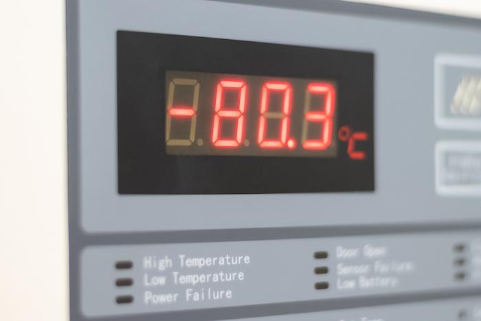 freezer temperature displayed